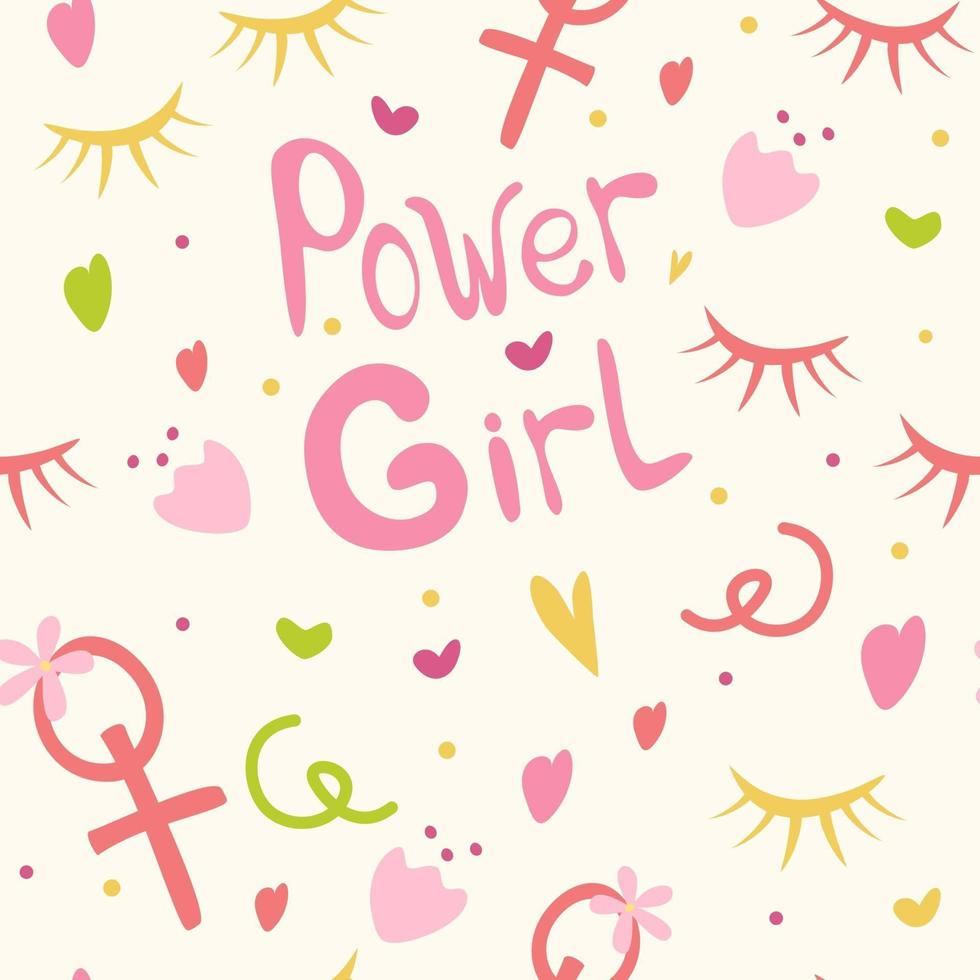 Background for girls the inscription girls power hearts flowers and cilia Girlish print for clothes textiles wrapping paper web Seamless pattern on a white background vector