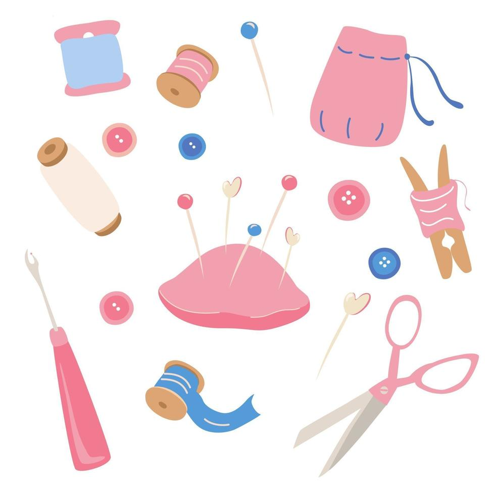 Sewing Kit Icons Set Hobby tools poster Needlework Tailor Handmade Dressmaking Hobby Sewing Arts and crafts hand drawn sketch supplies tools design for card print banner vector
