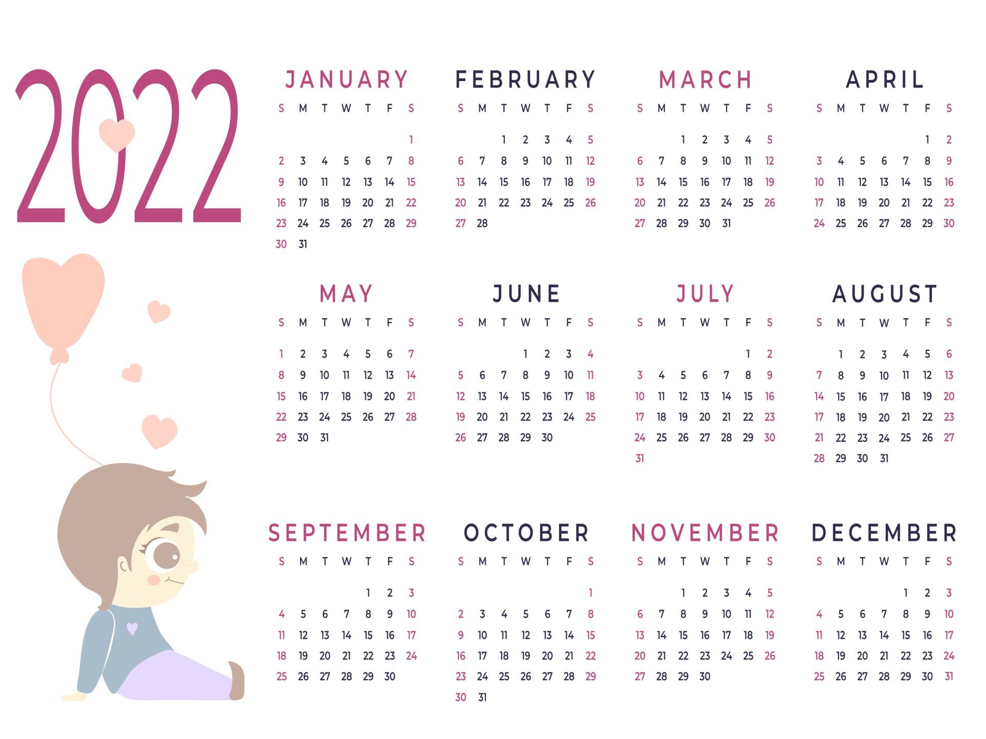 Kids Calendar 2022.Calendar 2022 Horizontal Template For A Year Kids Collection 2403569 Vector Art At Vecteezy
