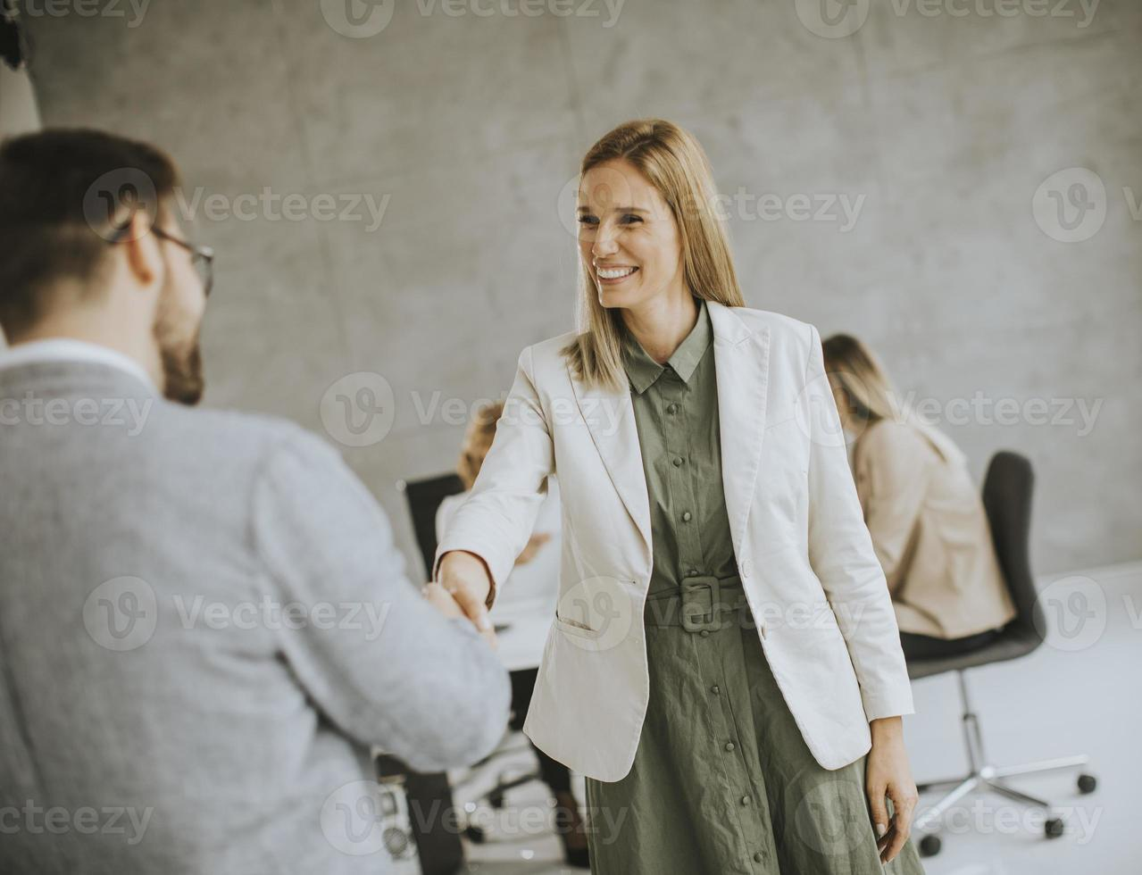 Two business professionals shaking hands in an office photo