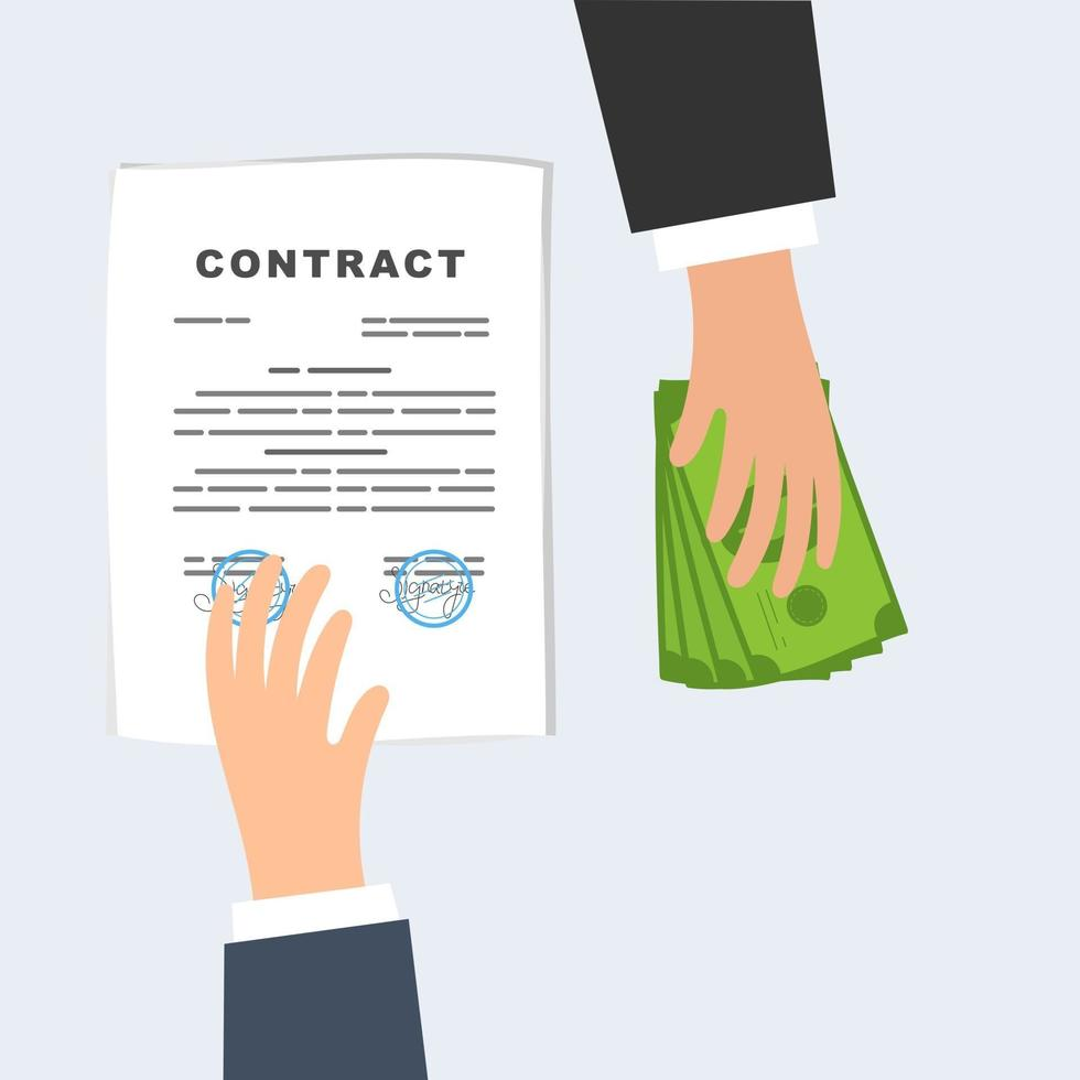 Conclusion of a contract business deal exchange of money for a document vector