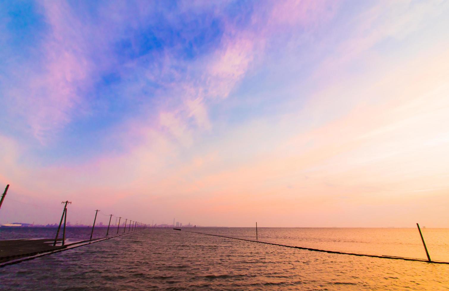 Tokyo bay with beautiful sunset sky photo
