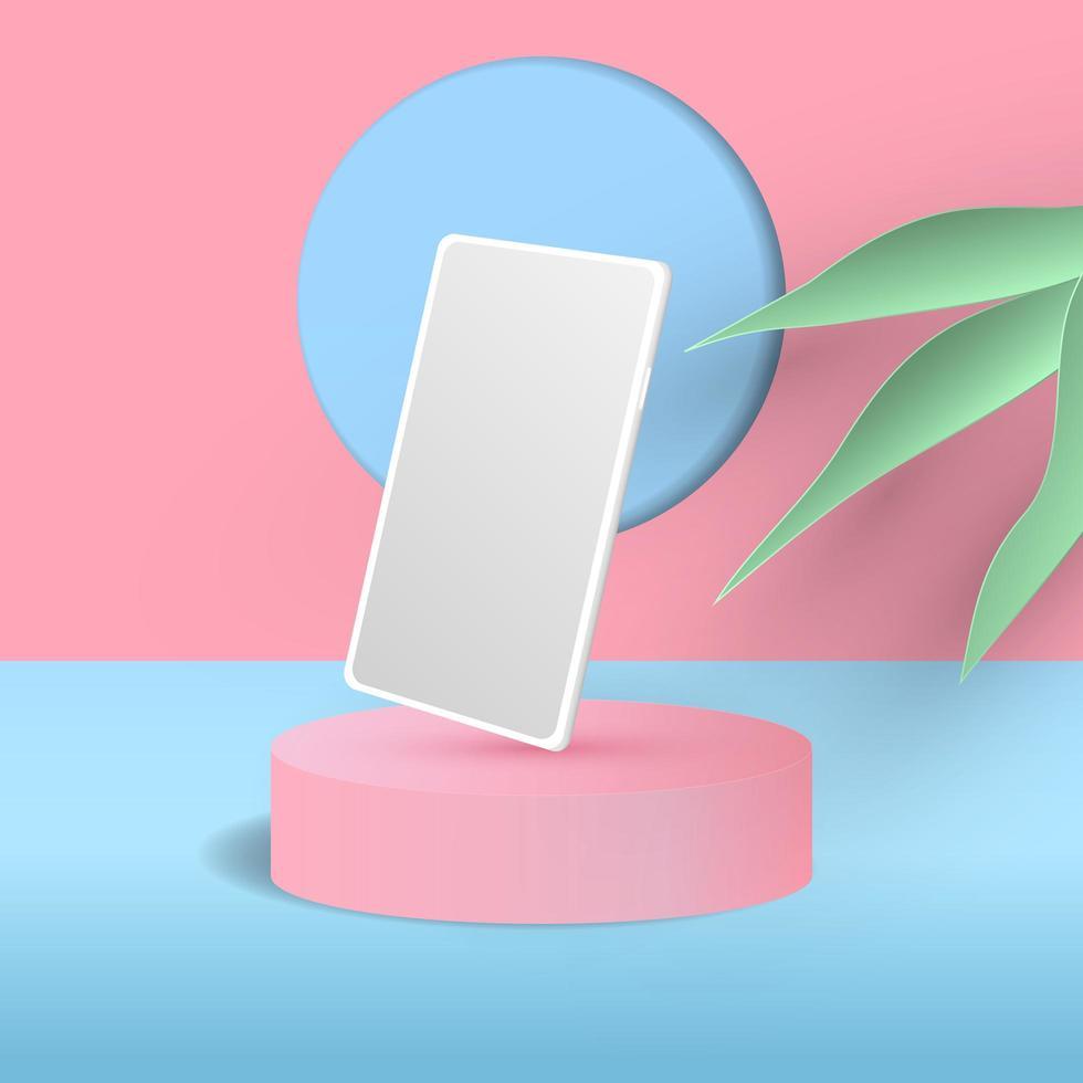 Minimal scene with cylinder podium and phone mockup background vector