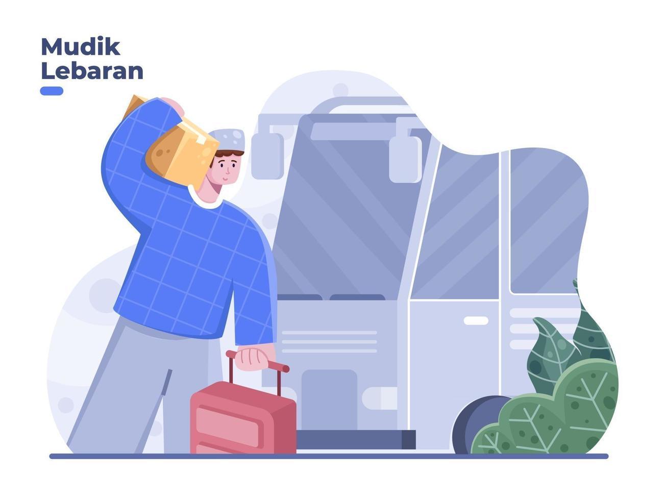 Mudik Lebaran concept translation back to village or hometown before Eid with bus. Eid Al Fitr travelling vector