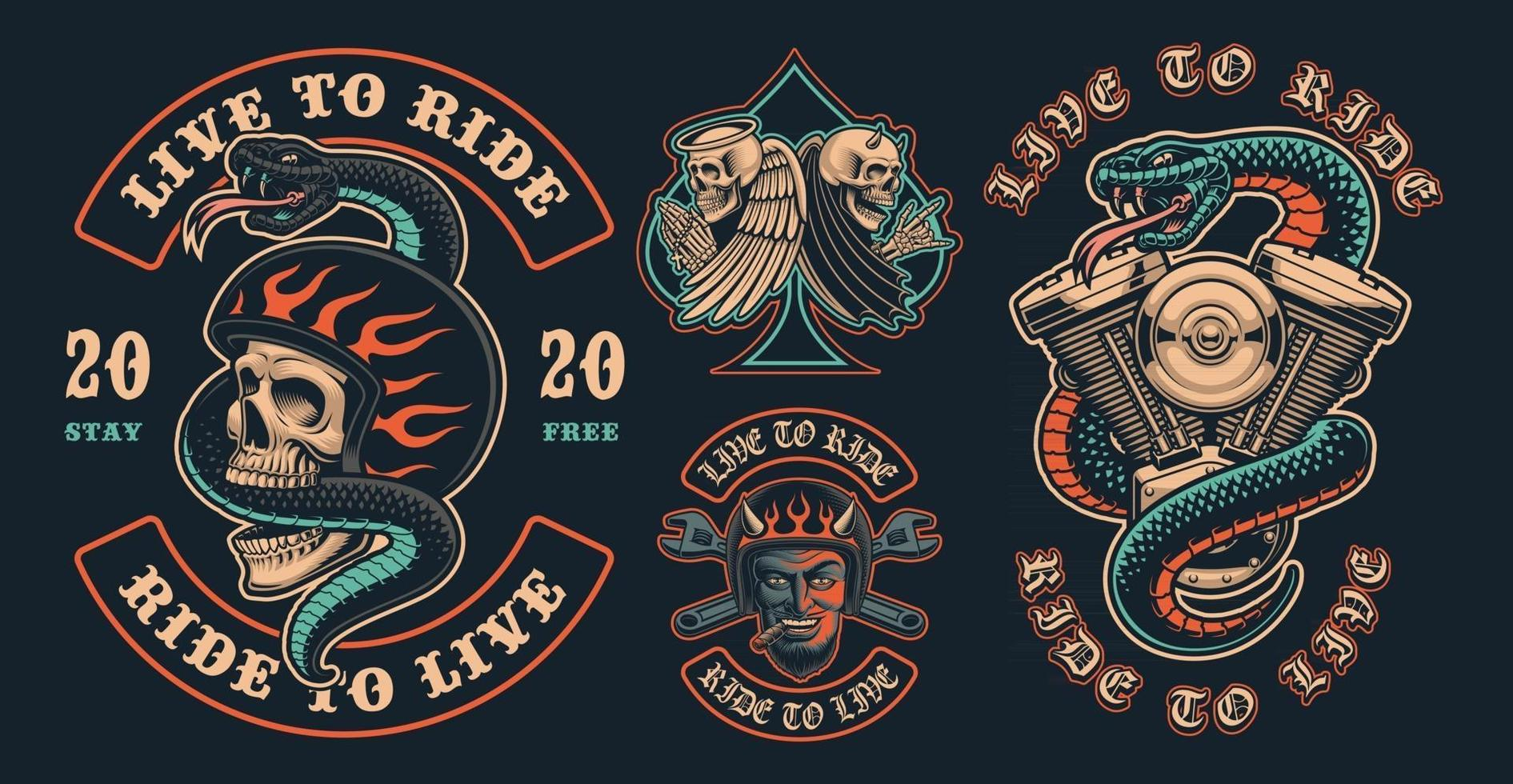 Set of color biker patches on a dark background vector