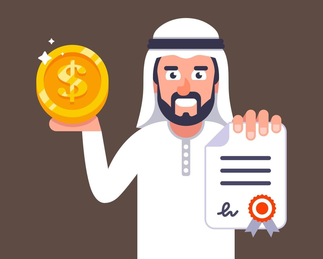 Arab businessman offers to conclude a contract job invitation to dubai flat vector character illustration