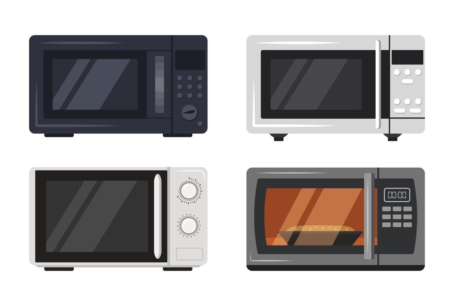 Microwave oven icons set Front view of kitchen appliances vector
