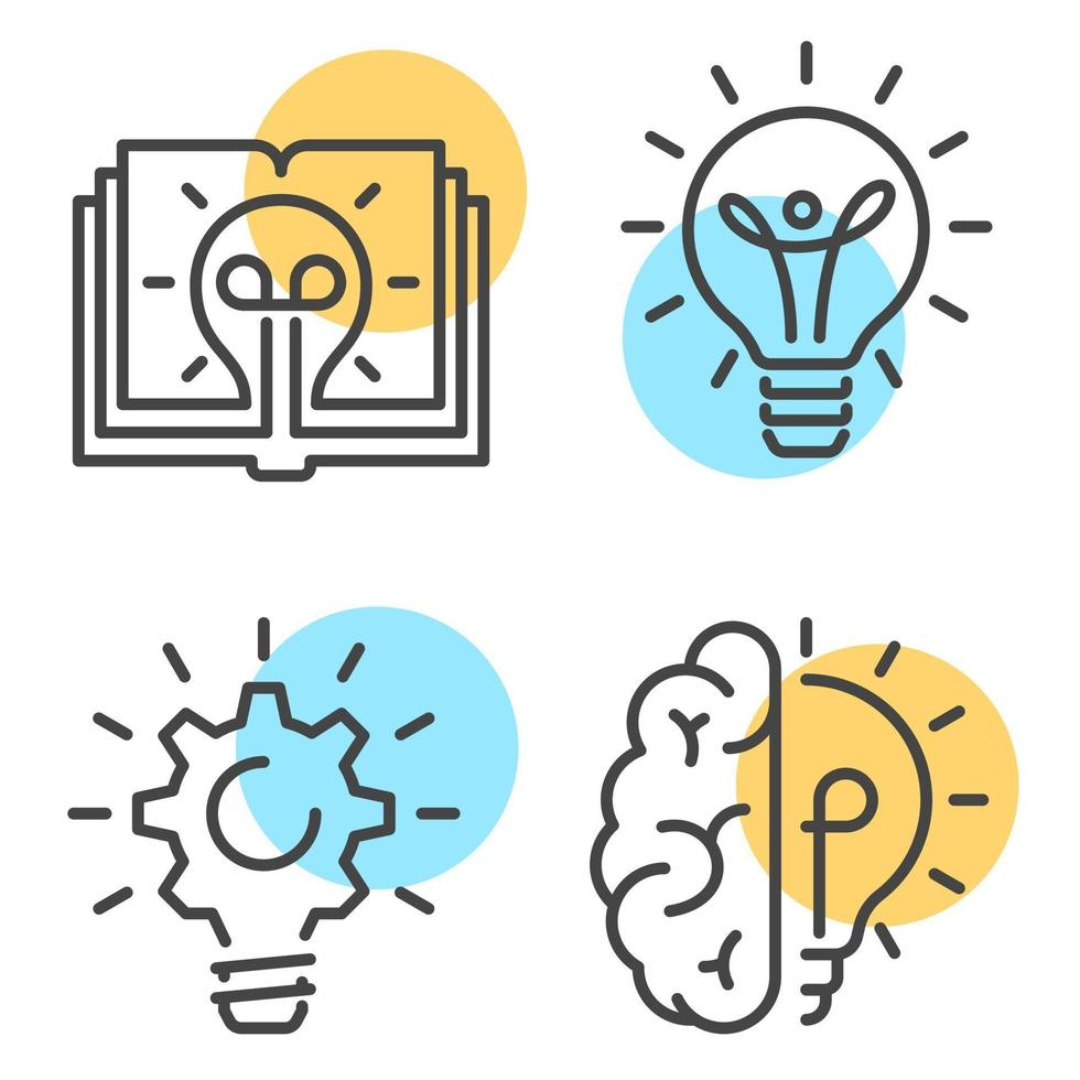 Collection of linear style icons with yellow circles representing creativity and idea and innovation concept on white background vector