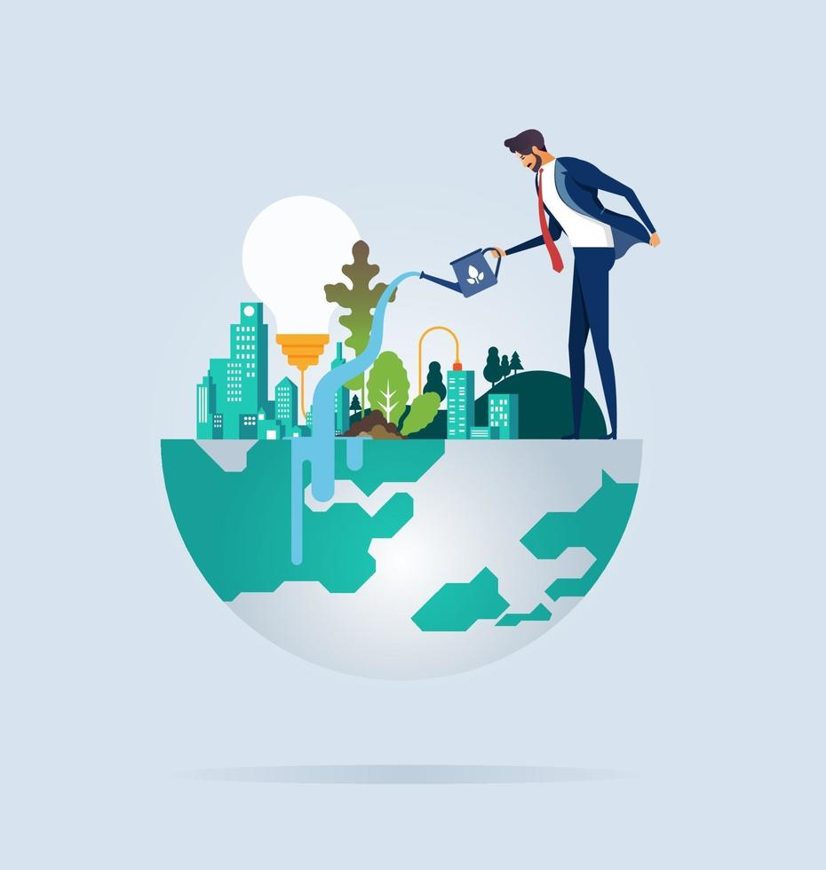 Businessman protects and preservation of the environment vector