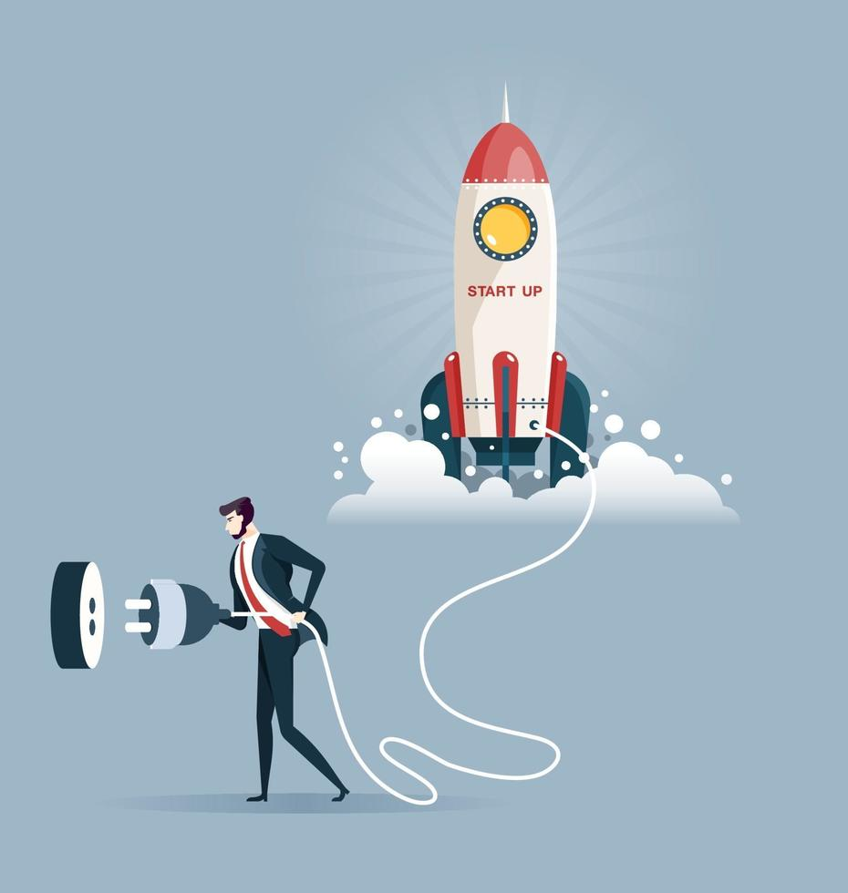 Businessman plugging in a start up rocket. Start up concept vector
