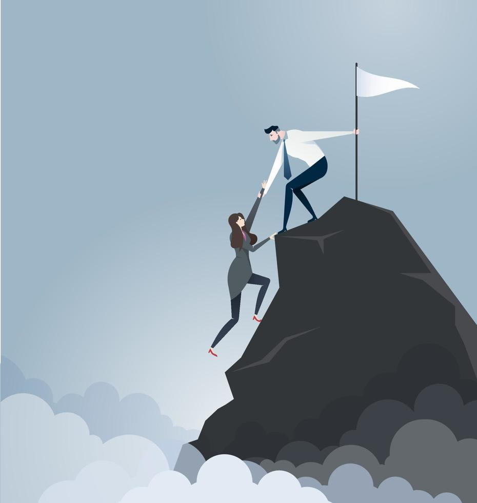 El empresario tira de su socio a la cima de la montaña. vector