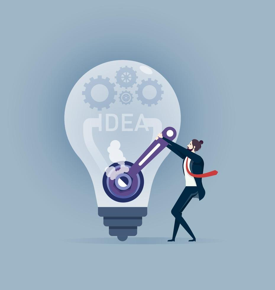 Businessman repairs light bulb idea. Concept business illustration Create idea vector