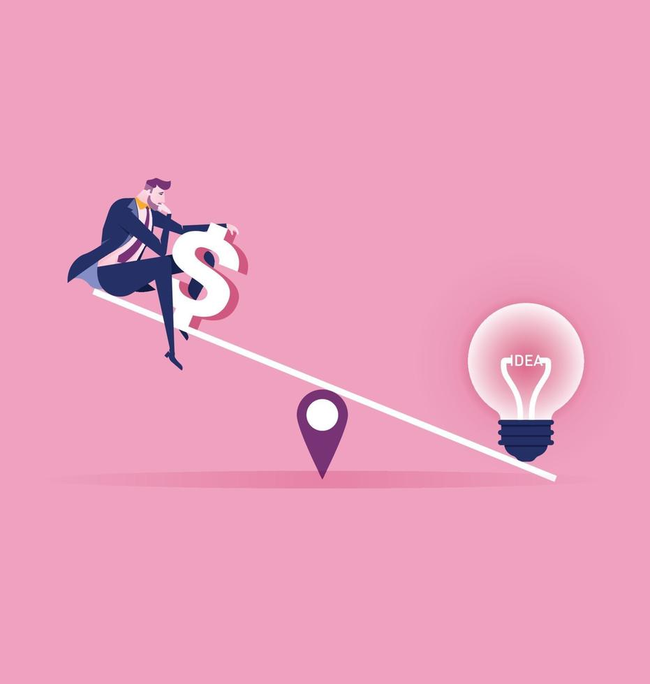 Businessman and scales. Light bulb idea and Businessman with money on balance scales color icon. vector