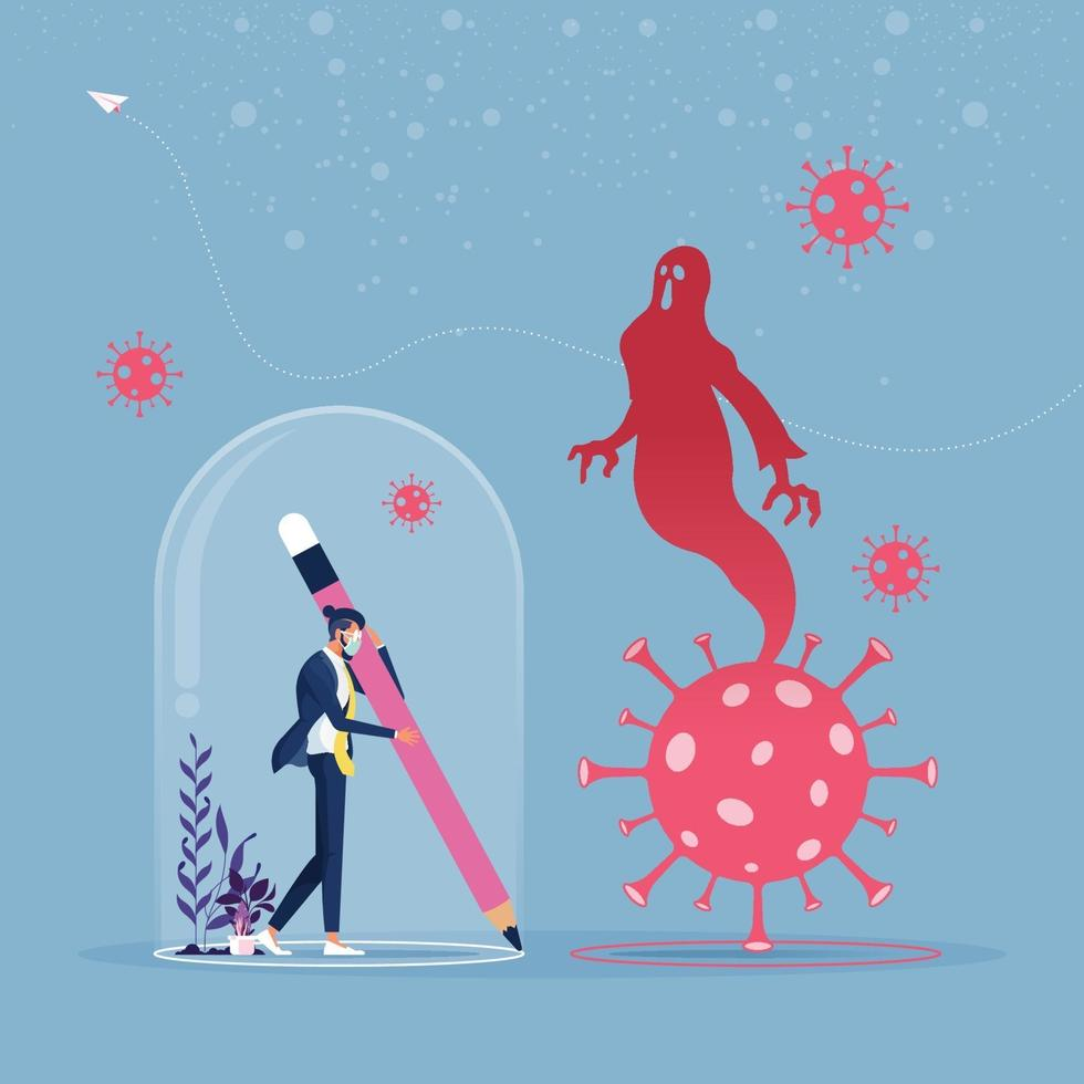 Businessman keeps distance away by drawing circle with virus pathogens. Social distancing concept vector