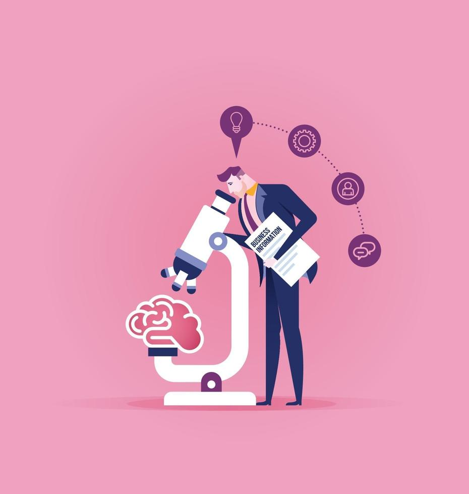 Businessman analysis brain with microscope vector