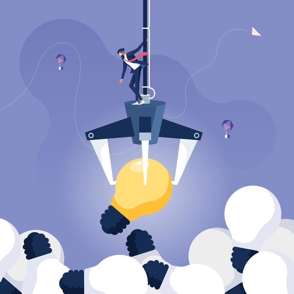 Businessman on a Claw Crane Arcade Chose the best idea. Business creativity concept vector