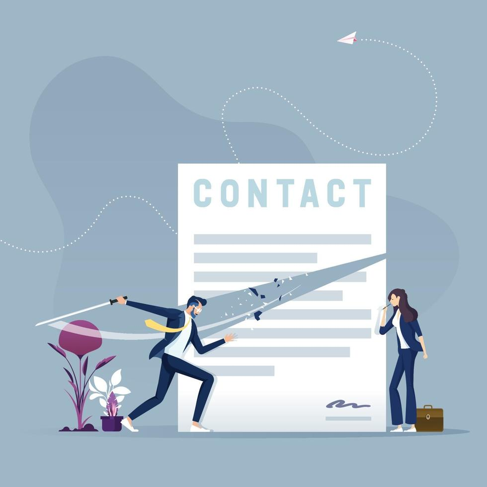 Businessman with sword cutting contract document. Contract termination concept vector