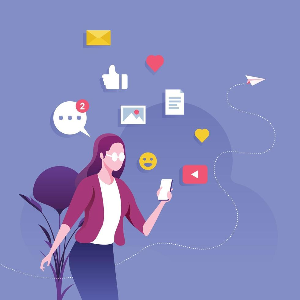Businesswoman using a smartphone with social media. Social network concept vector
