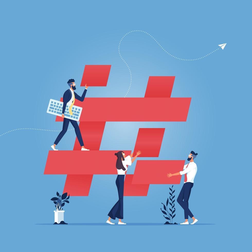 People build hashtag icon, social media concept vector
