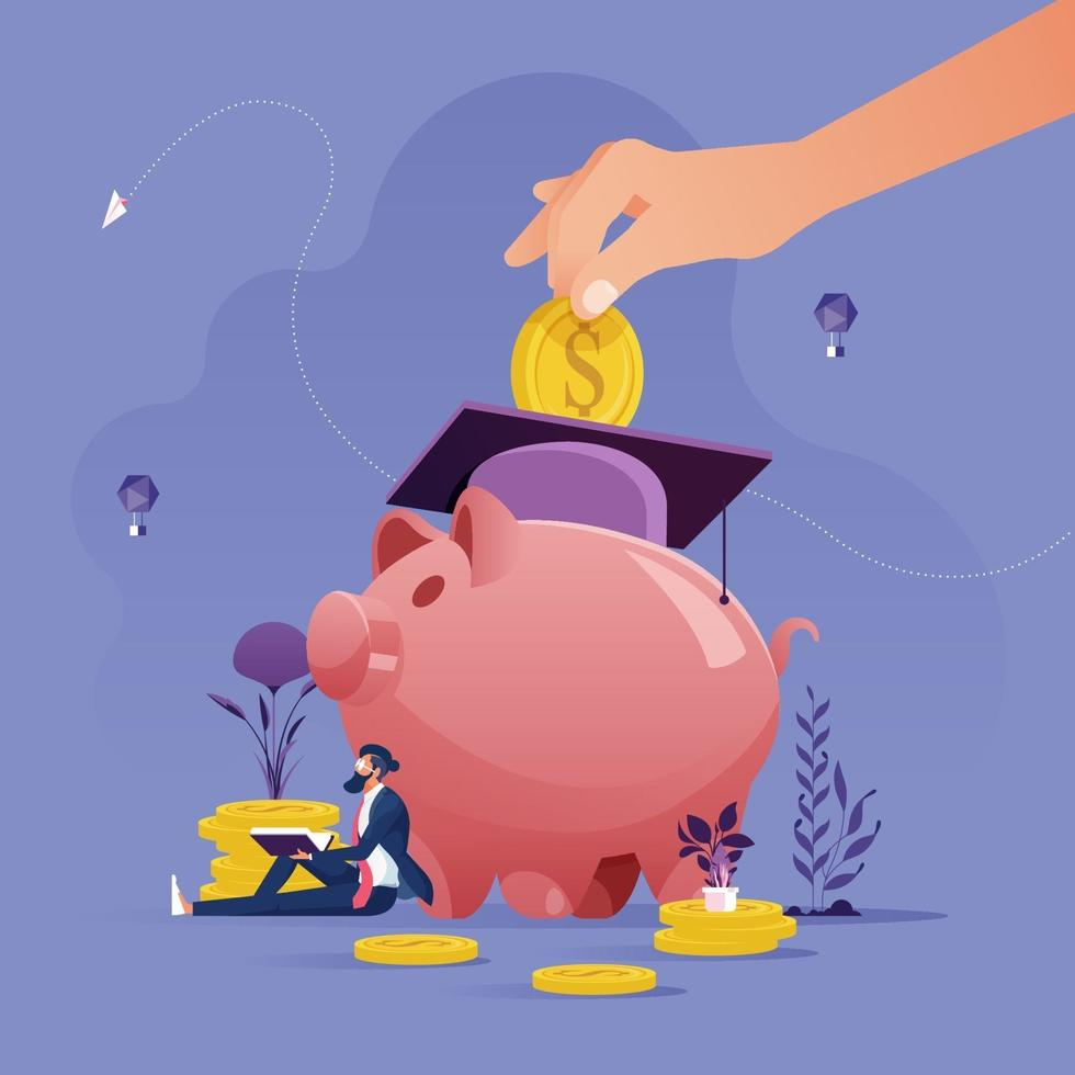 Hand put gold coin in piggy bank. Education savings and investment concept vector