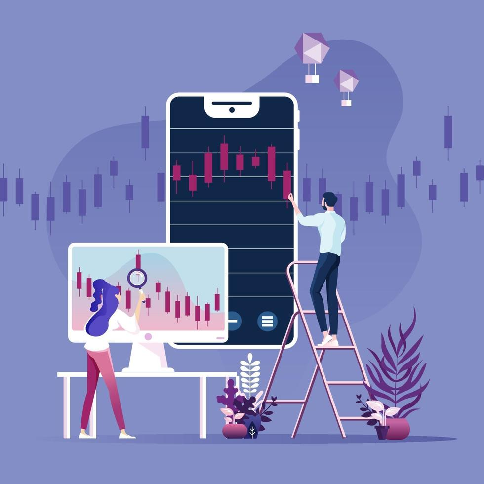 Online trading, banking, investment. Vector concept