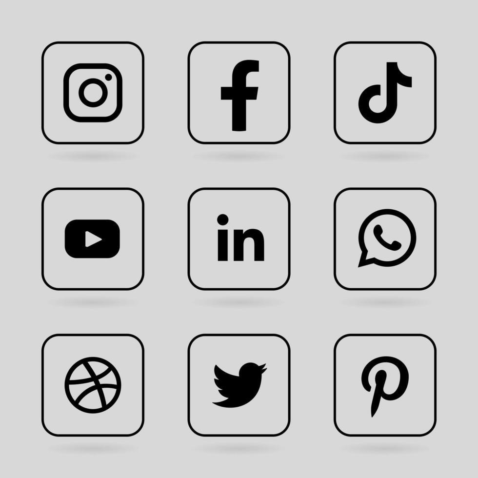 monochrome social media logo in lined square frame vector