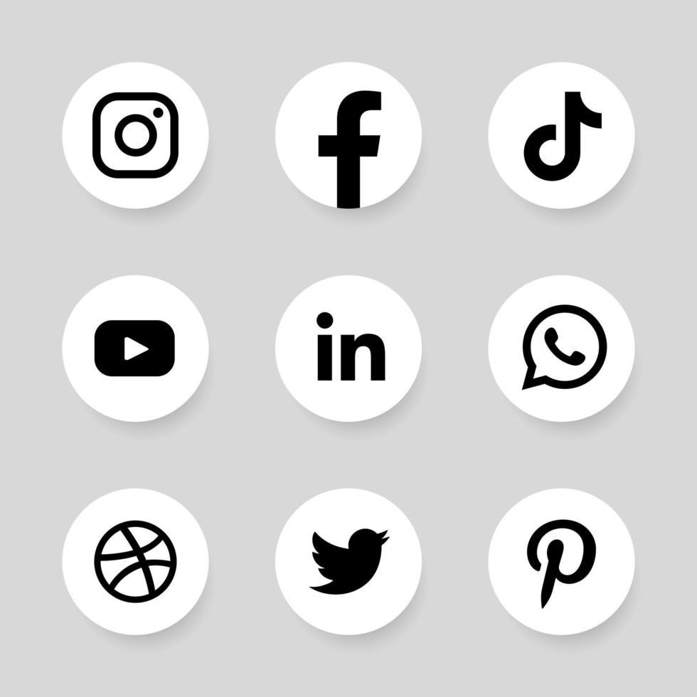 monochrome famous social media logo in circle frame vector