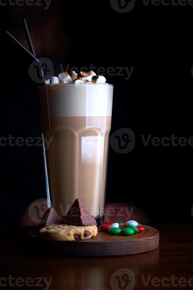 Iced coffee with chocolate ice cream photo
