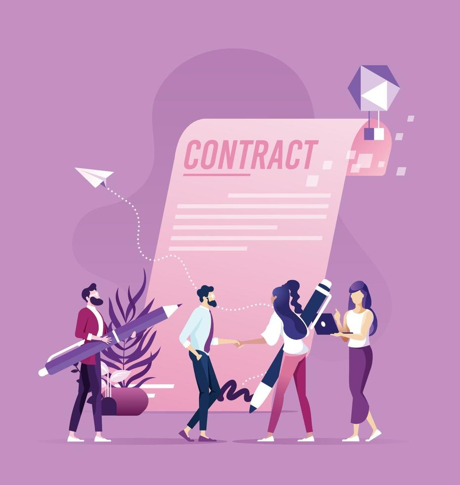 Businessman and businesswoman handshake after sign up contract, successful transaction concept vector