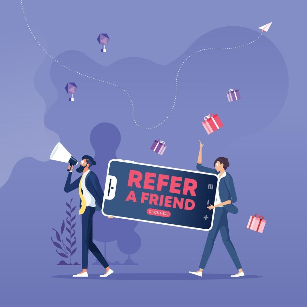 Refer a friend concept. Referral program and social media marketing for friends vector
