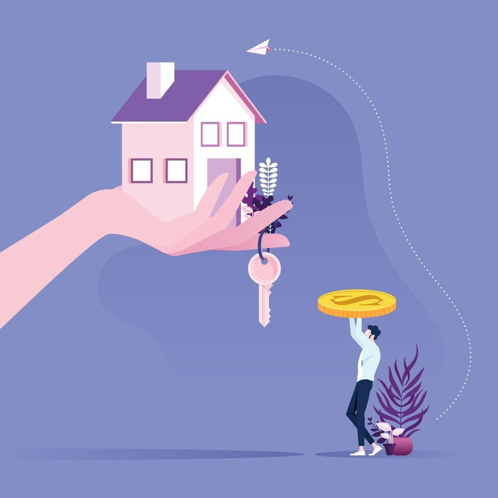 Real Estate Concept. Businessman buying a house with hand giving keys and house vector