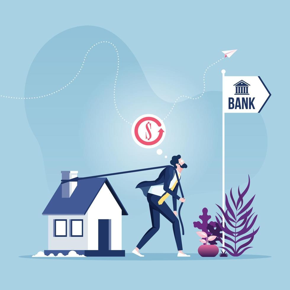 Mortgage Refinancing Loan. Businessman dragging house to the bank vector