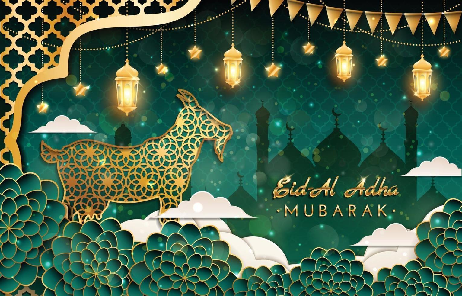 Eid Al Adha Mubarak Background with Goat Concept vector
