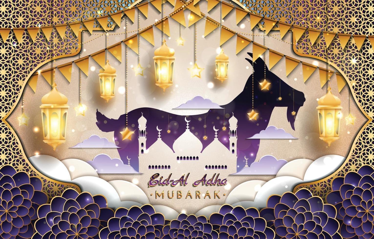 Eid Al Adha Mubarak with Goat and Mosque Concept vector