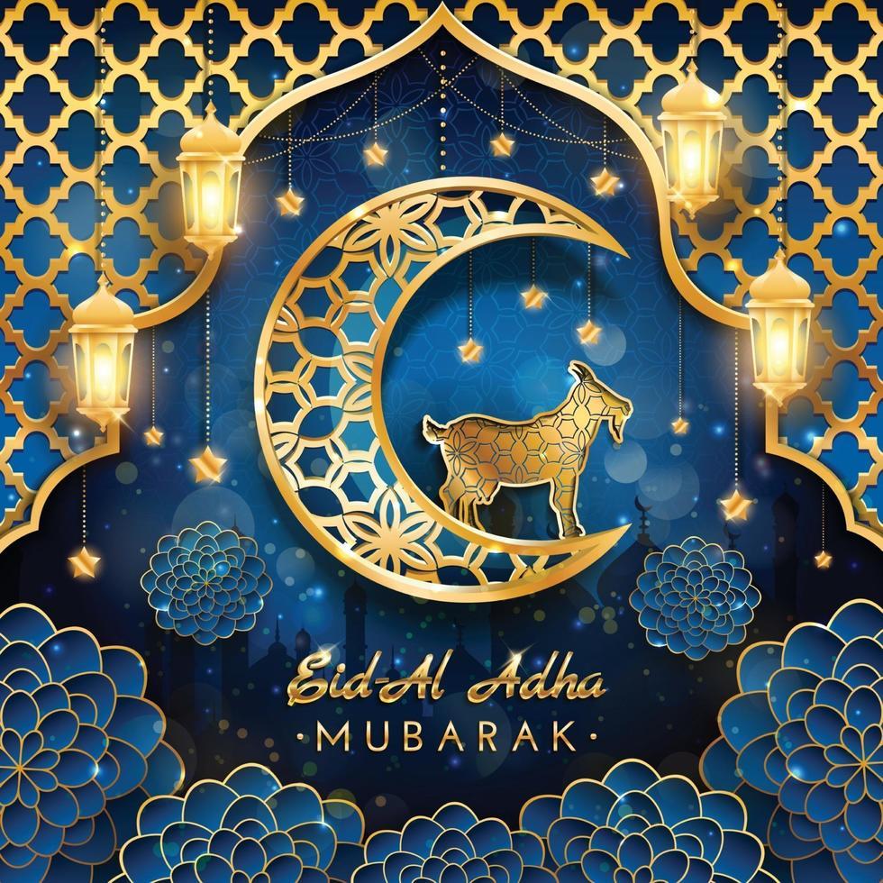 eid al adha mubarak con concepto de cabra y luna vector