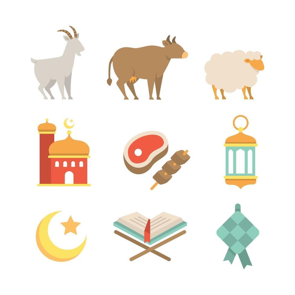 conjunto de iconos de eid al adha vector