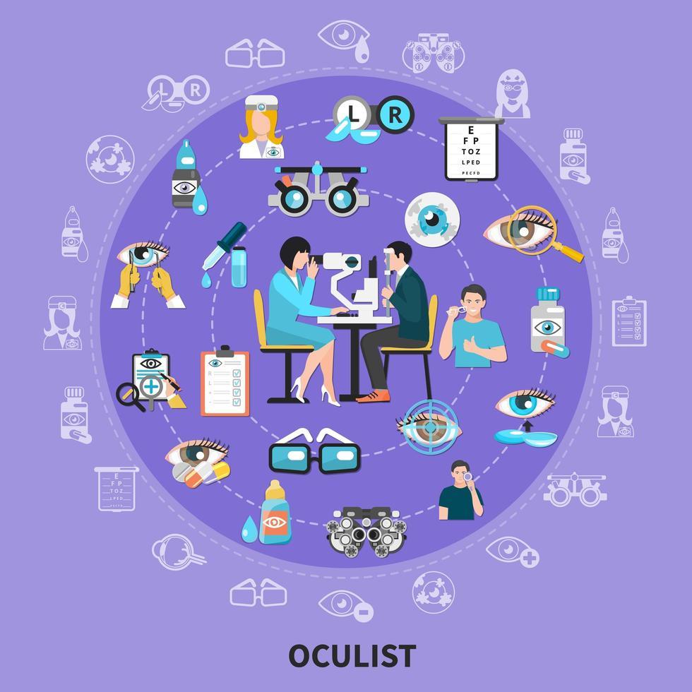 Oculist Circle Symbols Composition Vector Illustration