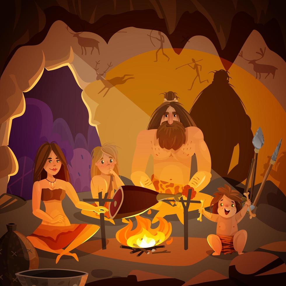 Caveman Family Cartoon Illustration Vector Illustration