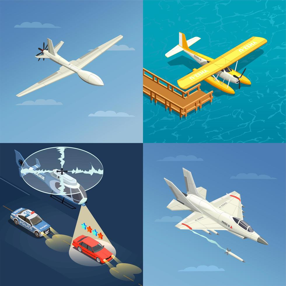Airplanes Helicopters Design Concept Vector Illustration