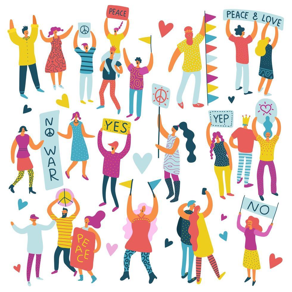 Desfile de personas activas conjunto de colores ilustración vectorial vector