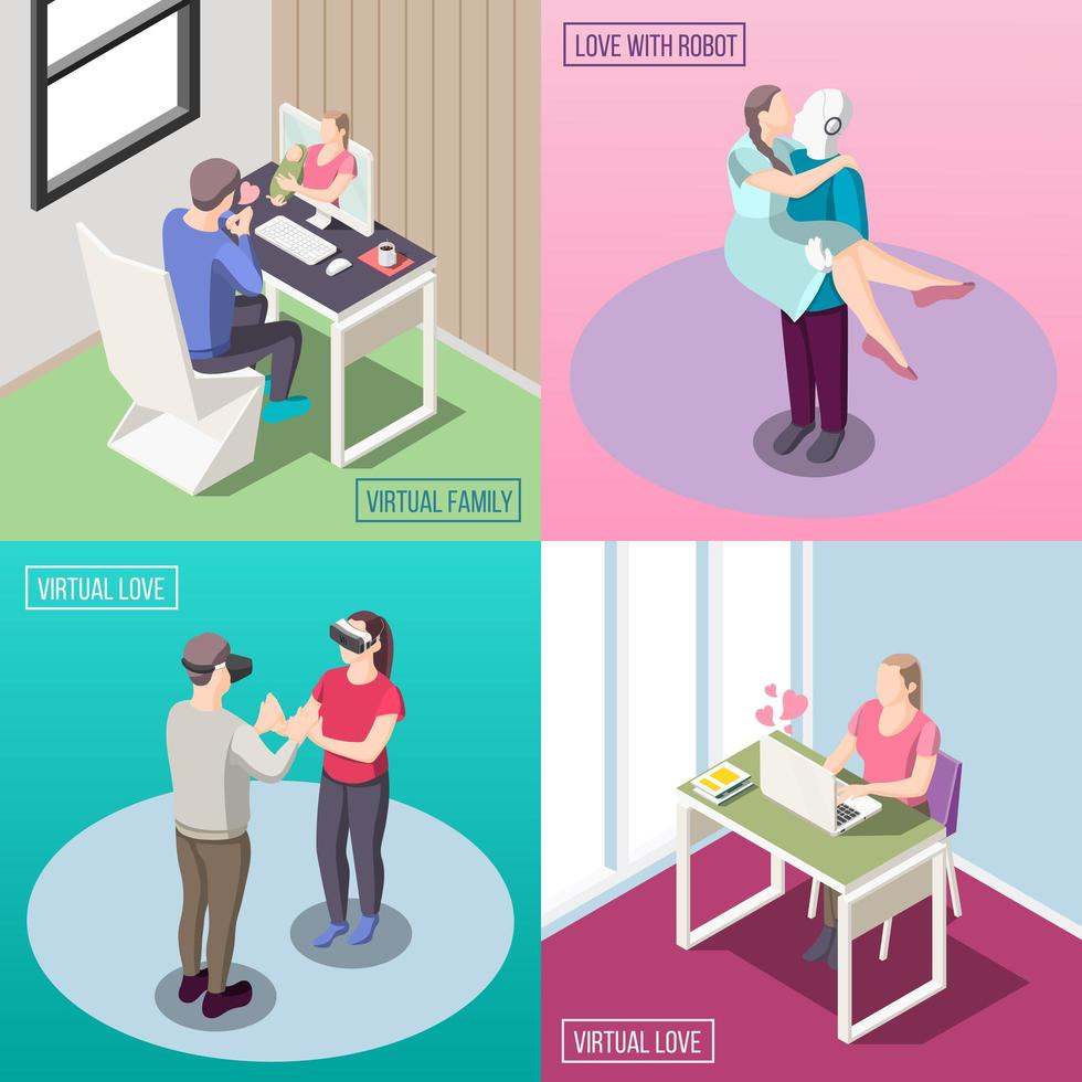 Virtual Love Isometric Design Concept Vector Illustration