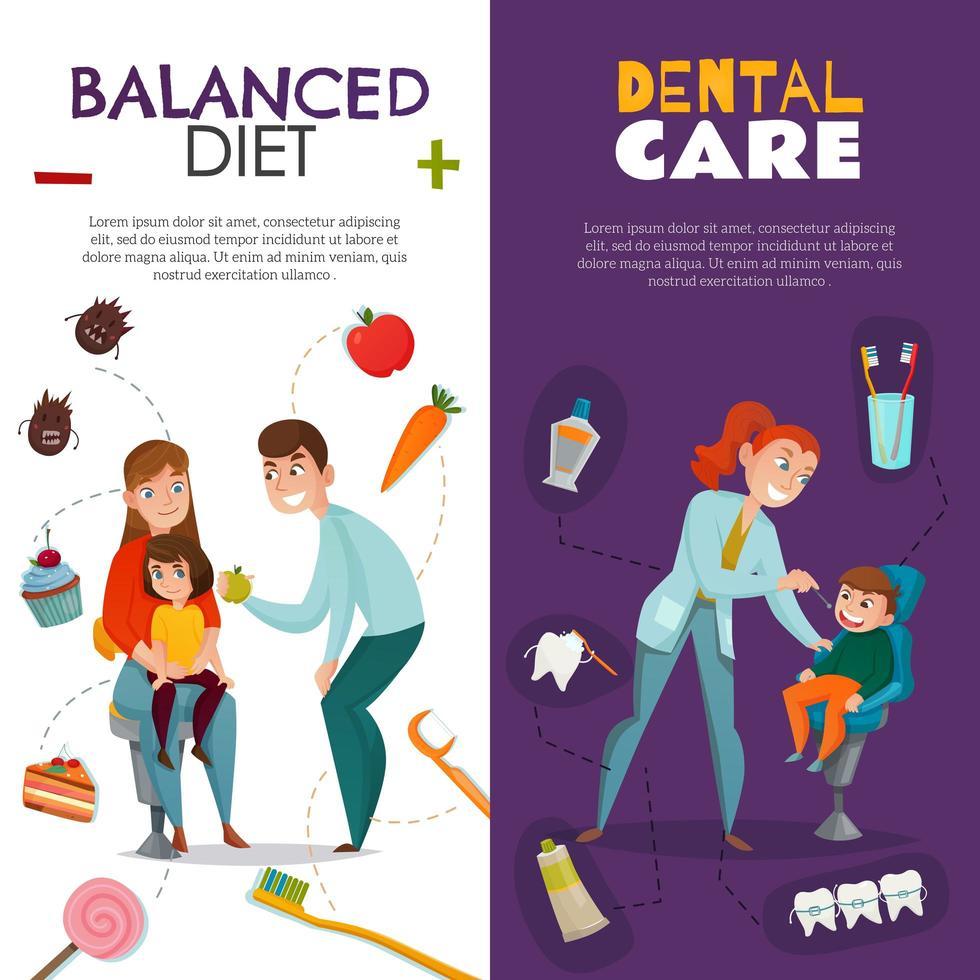 Vertical Pediatric Dentistry Vertical Banner Set Vector Illustration