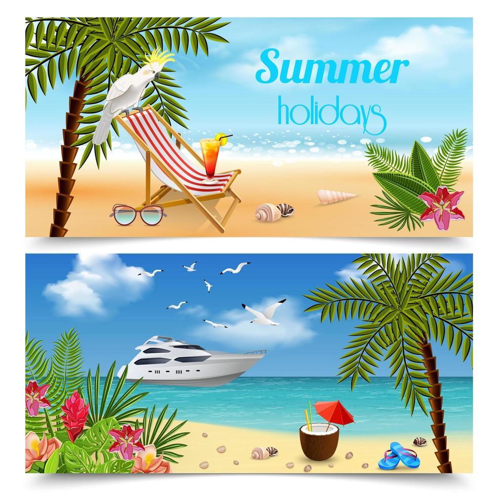 Tropics Horizontal Banners Set Vector Illustration