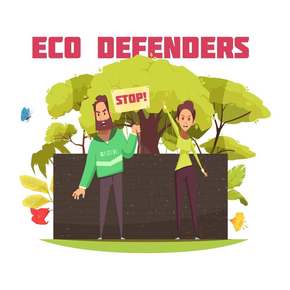 Ilustración de vector de composición de dibujos animados de defensores ecológicos