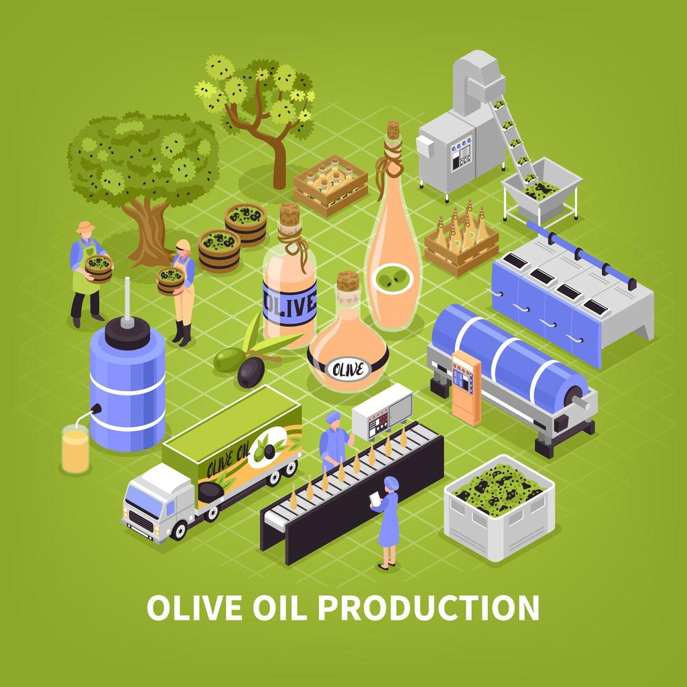 Olive Oil Production Poster Vector Illustration