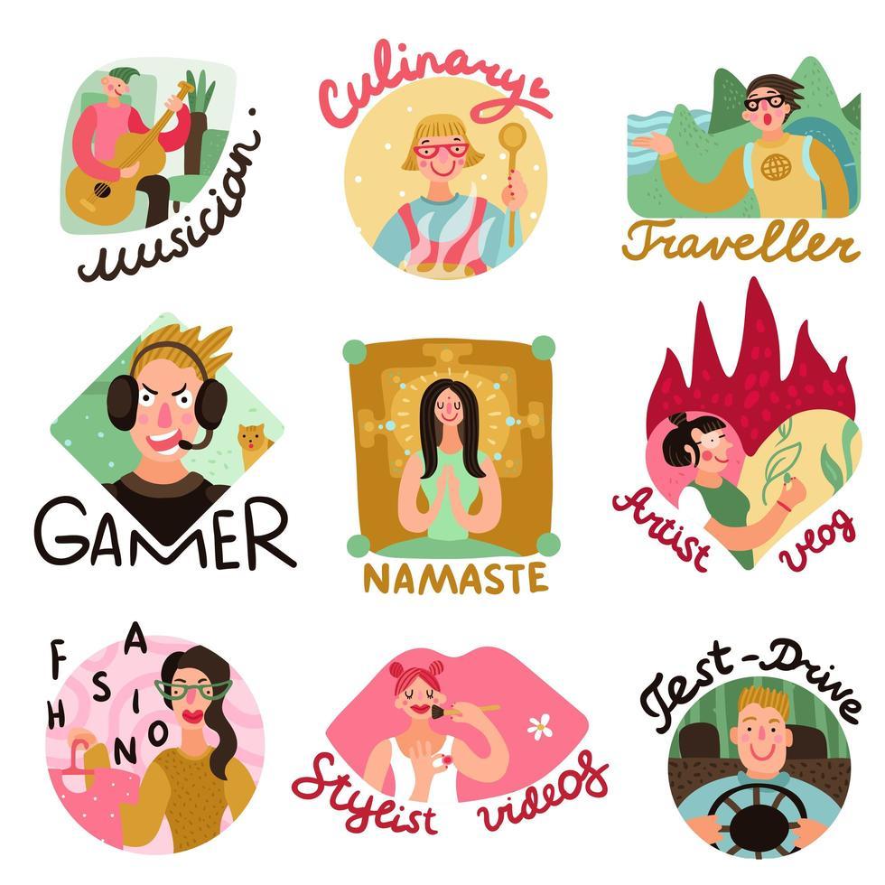 Video Bloggers Emblems Set Vector Illustration