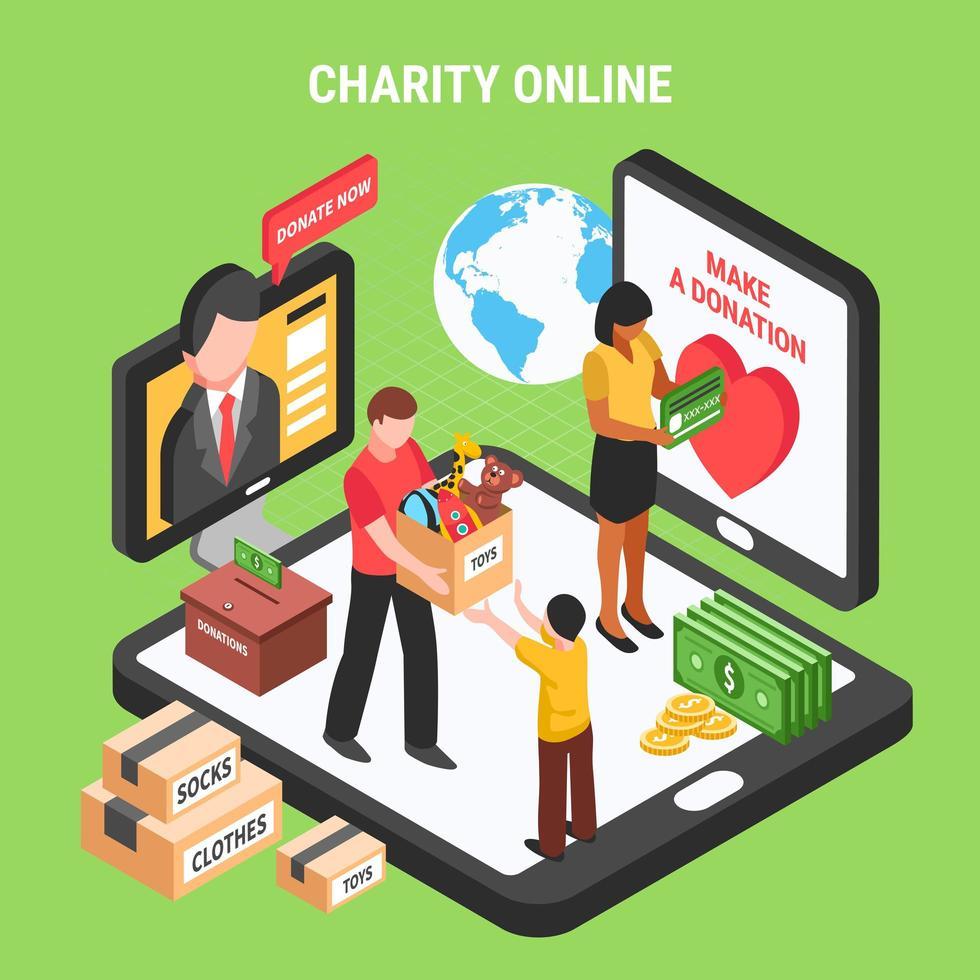 Charity Online Isometric Composition Vector Illustration