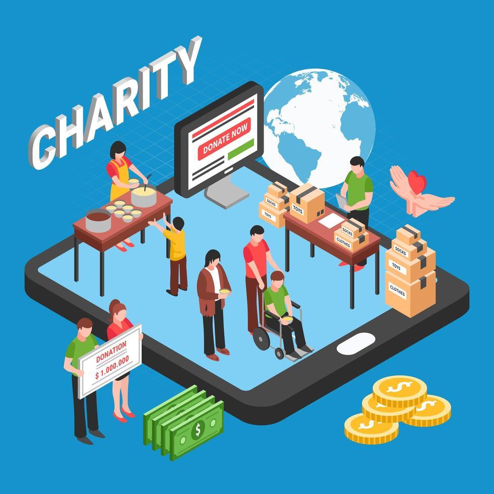 Charity Isometric Design Concept Vector Illustration