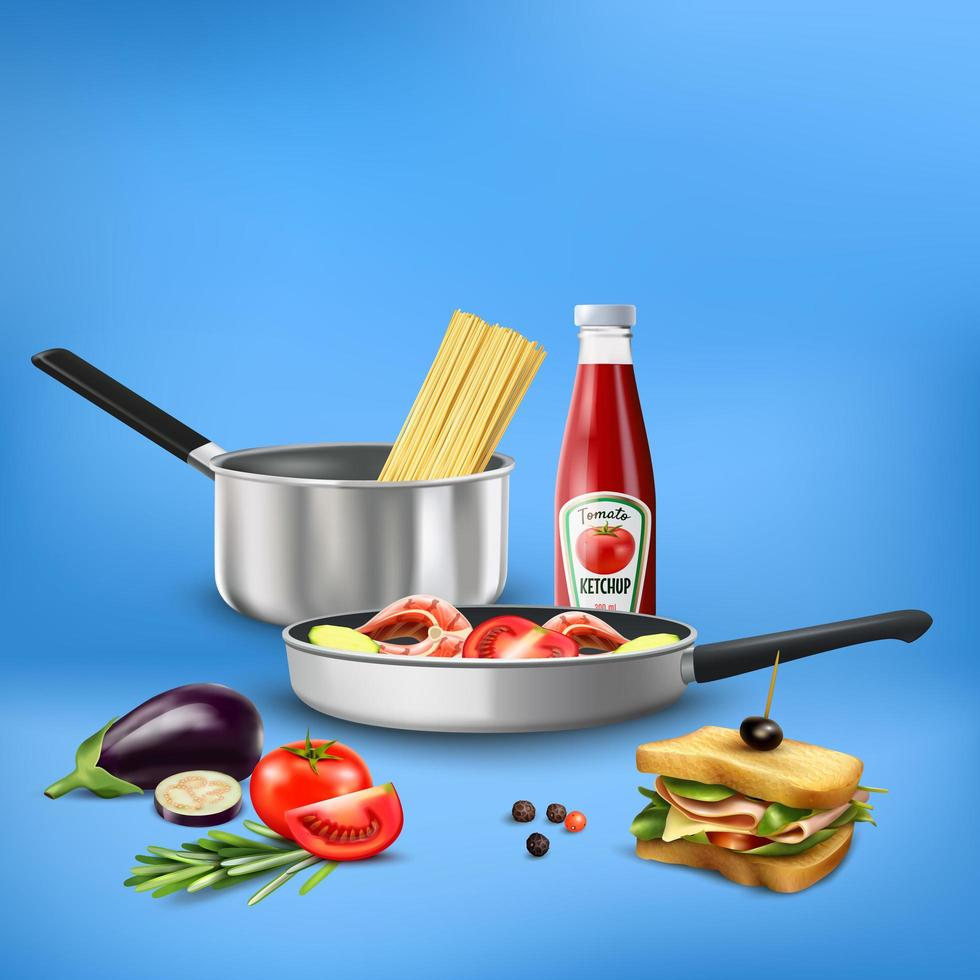 Realistic Kitchen Tools Food Composition Vector Illustration