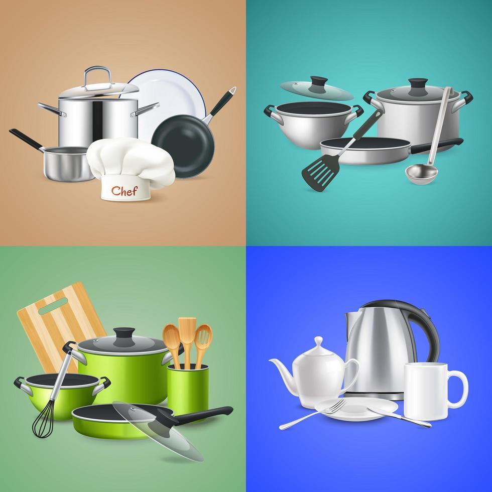 Realistic Kitchen Tools Design Concept Vector Illustration